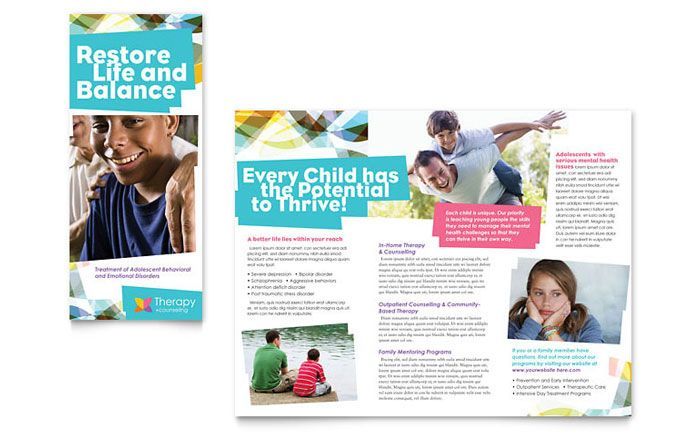 Adolescent Counseling Tri Fold Brochure Design Template by - microsoft word tri fold brochure template