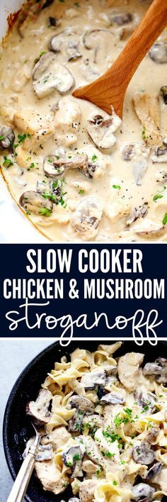 Slow Cooker Chicken and Mushroom Stroganoff takes just minutes to throw in the slow cooker! It is so creamy and delicious and will become an instant family favorite!