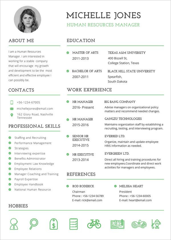 free resume templates for hr