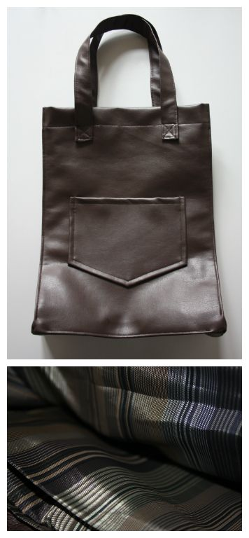 Mogina Brown Leather Purse with Striped Lining