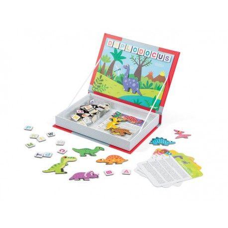Libro magnético dinosaurios. Al abrir estos libros encuentras un montón de sorpresas....  En este modelo se incluyen: 104 letras, 12 dinosaurios y 12 láminas donde pegarlo.
