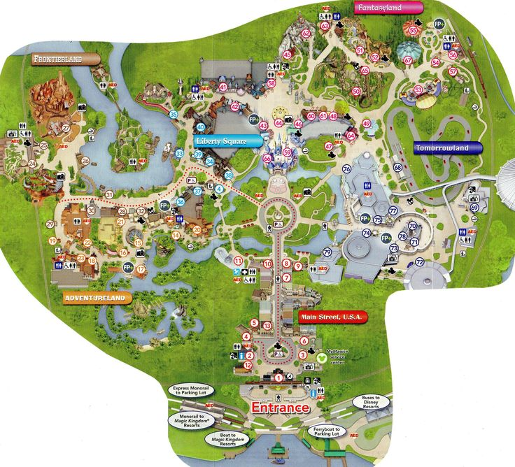 Detailed map of the Magic Kingdom We 39 re going to Disney Pinterest