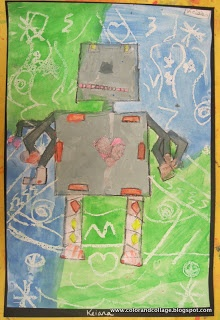 from Color, collage, and much more blog: Robots! This fun draw/paint lesson plan ties in with a robot book.