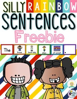 FREE. Writing - Silly Sentences. This is a freebie set of the silly sentences. This is one of the most popular activities in our monthly centers bundles.  Students will put the red, orange, yellow, green, blue and purple cards in piles and use them to make sentences.  Color coding is great for our students with special learning needs.  Download at:  https://www.teacherspayteachers.com/Product/Writing-Freebie-2226325