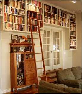 Definitely want a home library in our living room, and definitely have to have an old-fashioned library ladder!