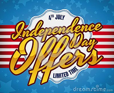 Poster with limited edition offers for Independence Day, with striped ribbon, golden text and starry background.