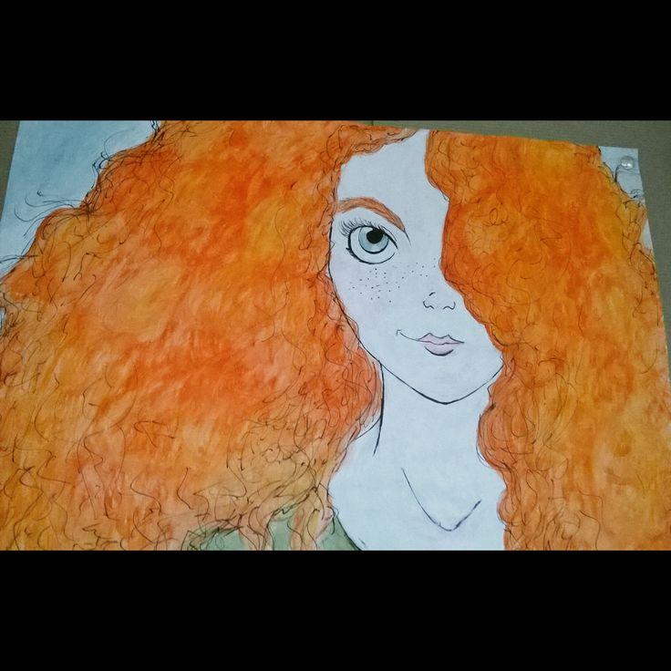Merida the Brave, watercolor pencils