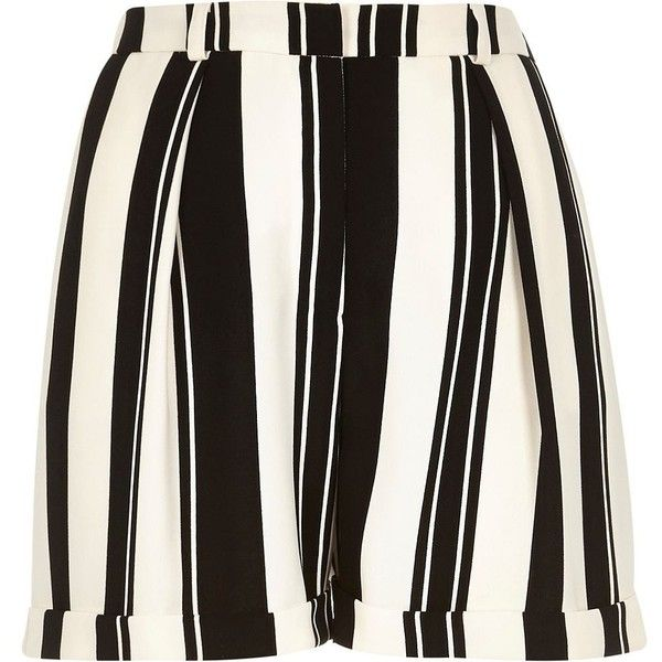 River Island Black and white stripe satin smart shorts (32 CAD) ❤ liked on Polyvore featuring shorts, black, sale, women, black and white stripe shorts, black and white shorts, white and black shorts, black and white striped shorts and black and white high waisted shorts
