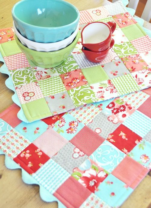 Quilted place mats. Love the colors of the lower mat