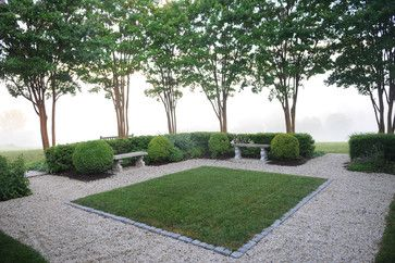 via houzz, design by Wheat's Landscape. Stone edging, pea gravel, grass. Great small trees (crepe myrtle?)