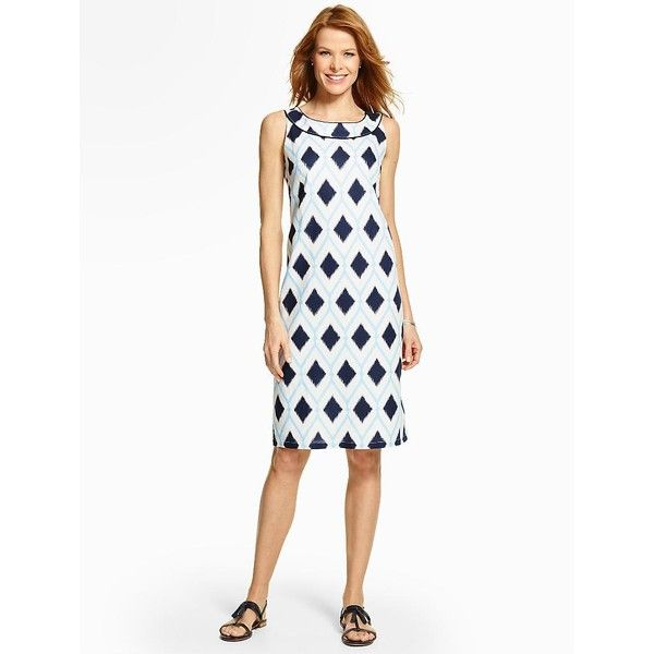 Talbots Women's Diamond Jubilee Shift Dress ($100) ❤ liked on Polyvore featuring dresses, sleeveless summer dresses, summer dresses, petite summer dresses, white summer dresses and summer shift dresses