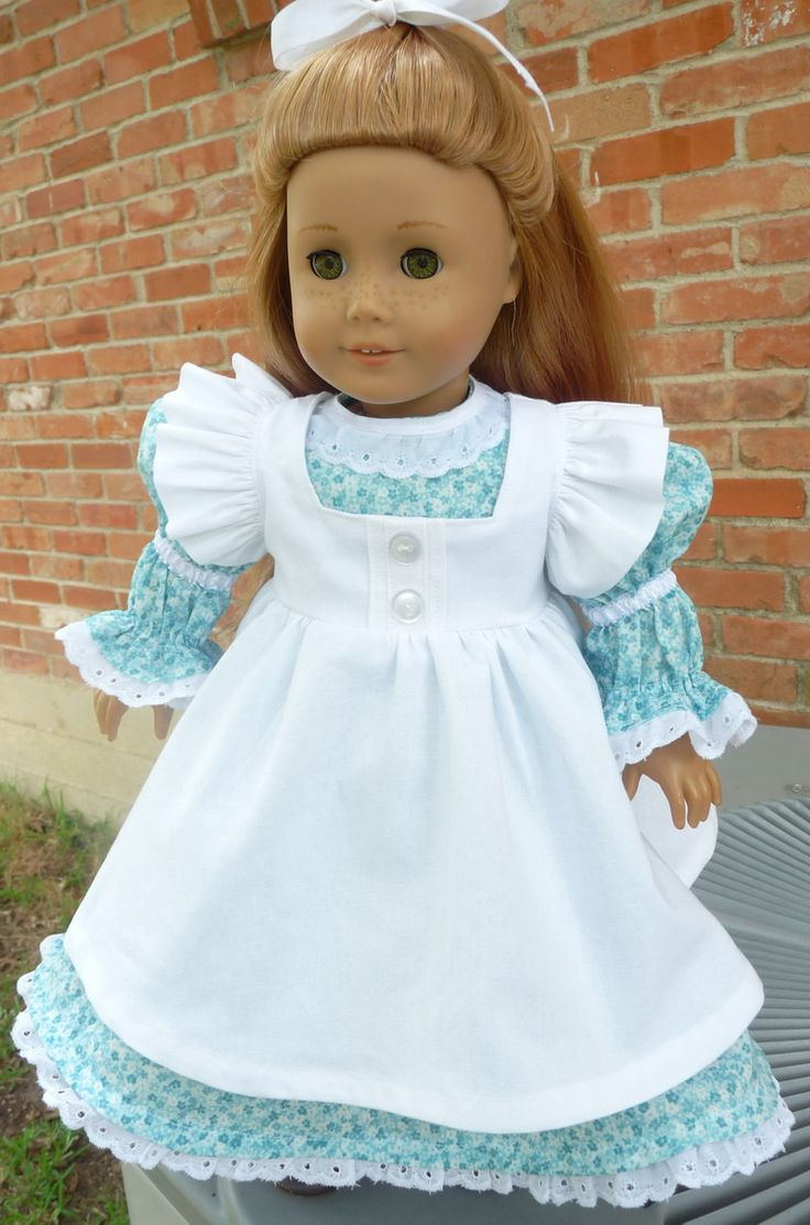 """18"""" Doll Clothes Historical Dress With Pinafore Fits American Girl Samantha, Cecile, Marie Grace, Addy"""