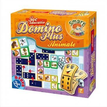 """Jocul Educativ """"Domino Animale"""" este un joc hazliu domino care conține 28 de piese din carton cu două fețe. Pe o față sunt reprezentate animalele, iar pe cealaltă imaginile clasice cu buline. #domino #boardgame #jocurieducative #jucariionline #educational"""