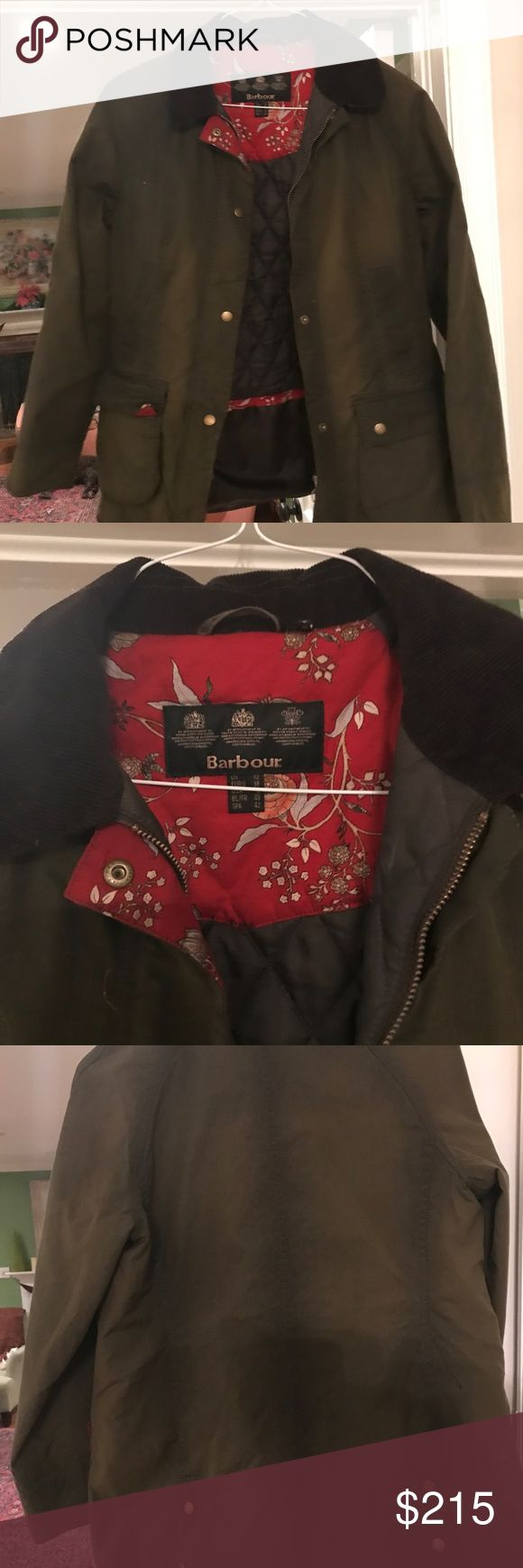 Barbour Catherine Waxed Jacket Great condition. Worn a few times. Great jacket. Can't beat this. Barbour Catherine Wax Jacket. Floral print inside. Olive green. US size 8 UK size 12 Barbour Jackets & Coats