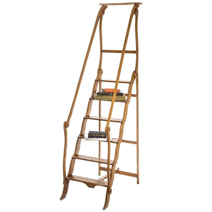 Library Ladder in Oak after a Model Used by the Comédie Française