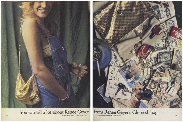 You can tell a lot about Renee Geyer from Renee Geyer's Glomesh bag... #ReneeGeyer #Glomesh