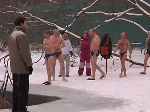 """A group of ice swimmers at """"Serebryanniy bor"""" club celebrate the start of the season."""