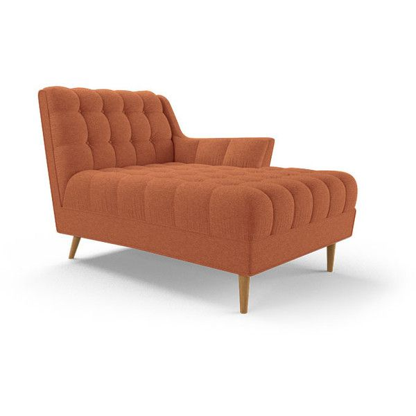 Fitzgerald Mid Century Modern Orange Single Arm Chaise (82,875 PHP) ❤ liked on Polyvore featuring home, furniture, chairs, accent chairs, orange, midcentury chair, mid century modern furniture, tufted chaise, tufted accent chair e midcentury modern furniture