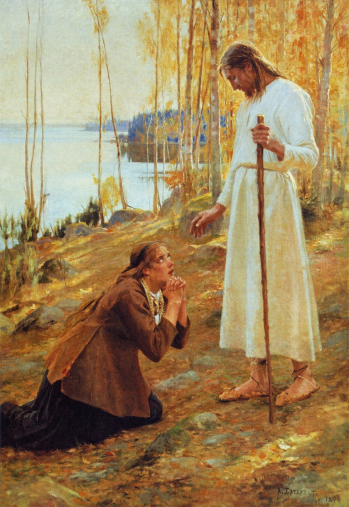 Kristus ja Mataleena/ Christ and Mary Magdalene. Albert Edelfelt, Finnish painter