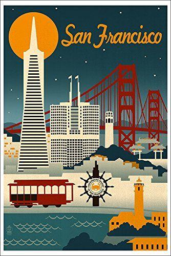 San Francisco, California - Retro Skyline (12x18 Art Print Wall Decor) Lantern Press http://www.amazon.com/dp/B00N5CGJB4/ref=cm_sw_r_pi_dp_BveRvb1GYPV80