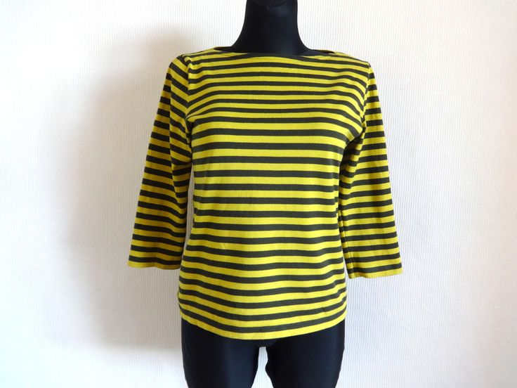MARIMEKKO Mustard Yellow & Moss Green Shirt Cotton Jersey 3/4 Sleeve Women's Top Striped Shirt Nautical Top Marimekko Clothing Vintage by Vintageby2sisters on Etsy