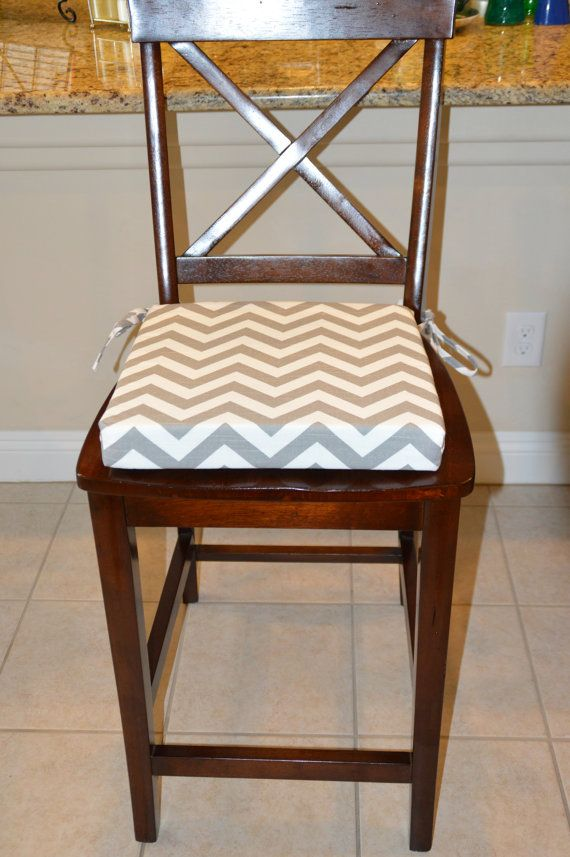 Gray and white chevron print fabric seat cushion cover, kitchen chair pad  cover, dining - Best 25+ Kitchen Chair Pads Ideas On Pinterest Kitchen Chair