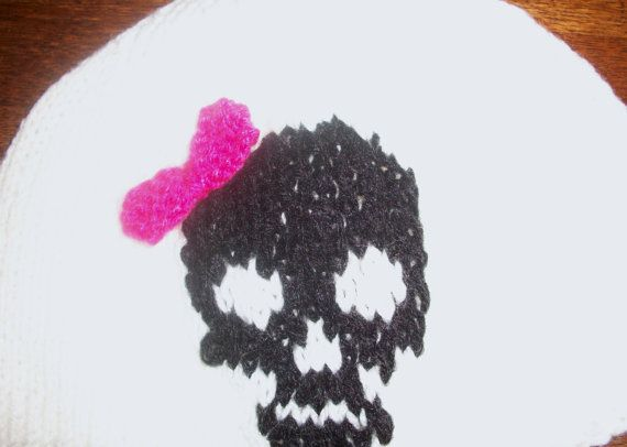 Skull and Bow beanie hat in white  pink by thekittensmittensuk, $22.00