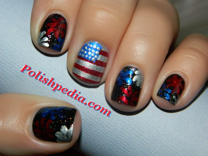 My Patriotic themed nails for this 4th of july. See what products were used @ http://polishpedia.com/4th-of-july-patriotic-nails.html!! Enjoy!