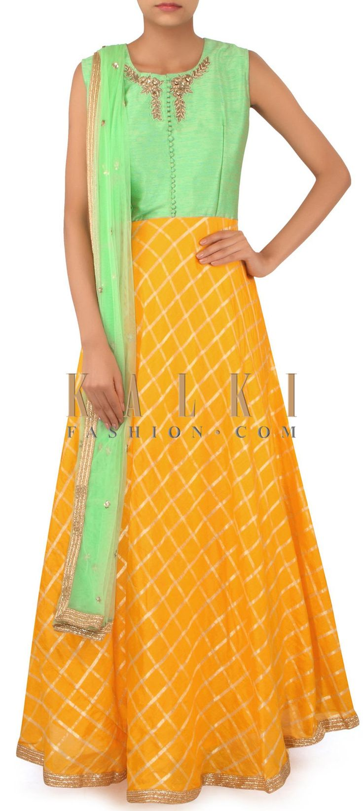 Yellow and green anarkali suit in zardosi embroidery only on Kalki