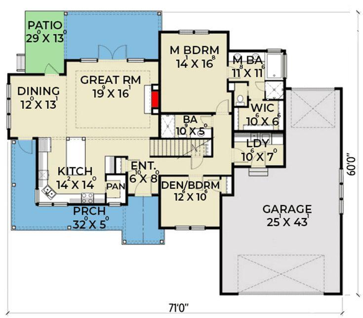 Plan 280056JWD: Split Bed New American Home with Open-Concept Floor Plan