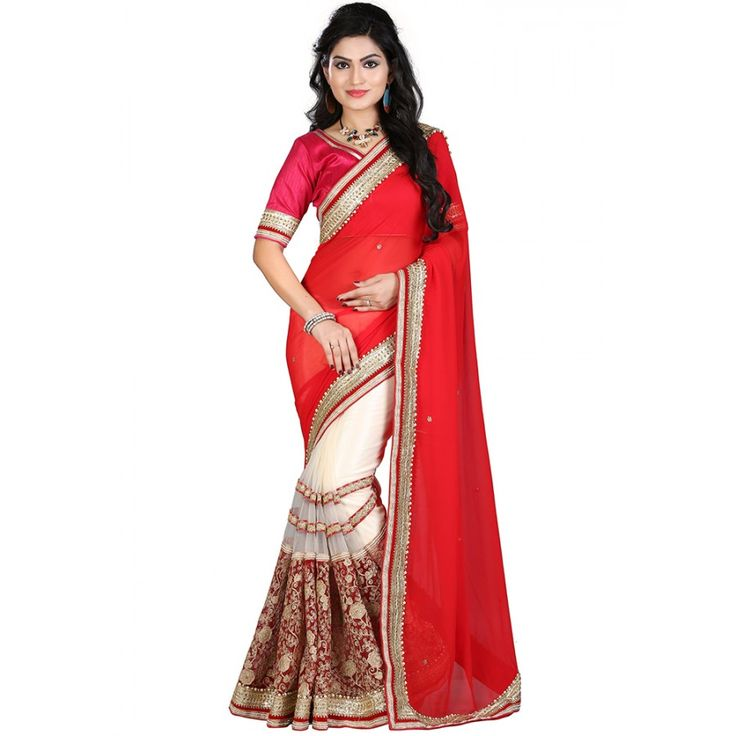 Exquisite Red Color Party wear & Designer Saree at just Rs.3150/- on www.vendorvilla.com. Cash on Delivery, Easy Returns, Lowest Price.