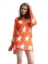 Star pattern loose sweater orange $69.00
