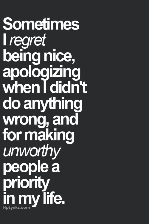 being nice, apologizing when I didn't do anything wrong...part of being the bigger person. Sometimes it sucks following what our parents taught us to be right and just! Yes! And Why can't I pop out 5.3 kids and live off the system, collect an income, buy my cigarettes, Lotto tickets, and beer and let the kids raise themselves?!!! Because my parents gave me a conscience...DAMN THEM!!!