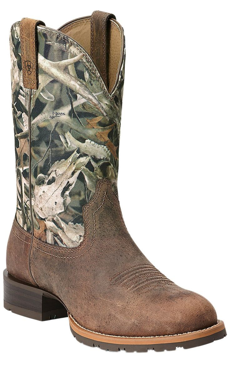 Ariat Hybrid Rancher Men's Distressed Brown with Bonz Camo Top Round Toe  Cowboy Boot