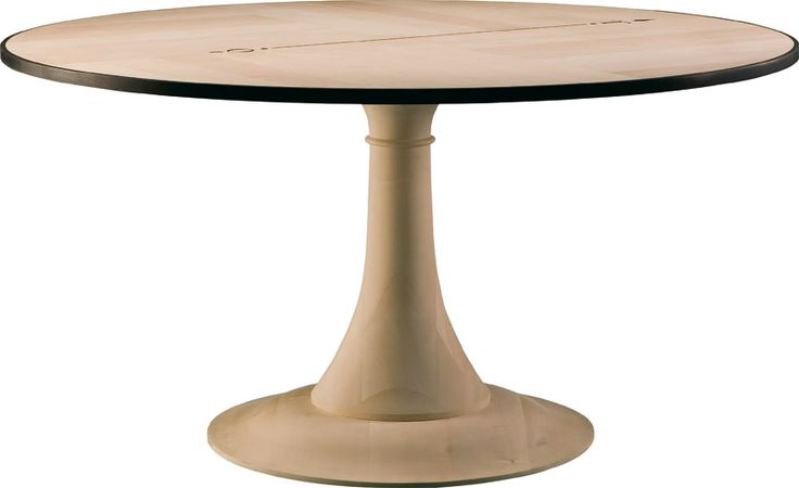 """NORD SUD, round table made of maple with turned leg. On the top an ebony inlay represents the north-south path. Table awarded with the """"best design 2006"""""""