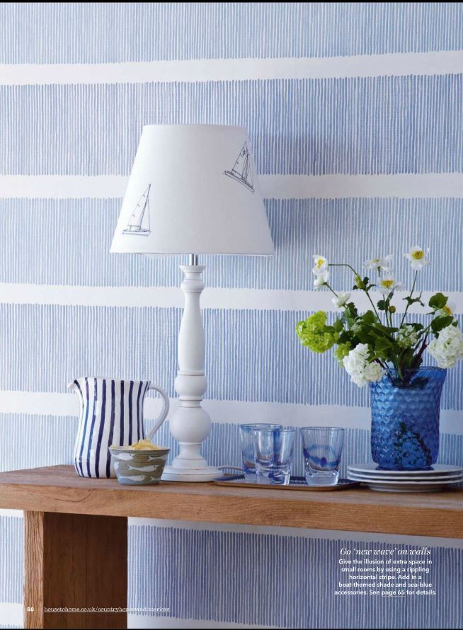 Sanderson 'Tatami Stripe' wallpaper in Country Homes & Interiors July A  calming blue and white interior creates a beautiful coastal look, perfectly  styled ... - Best 25+ Striped Wallpaper Ideas On Pinterest Striped Hallway