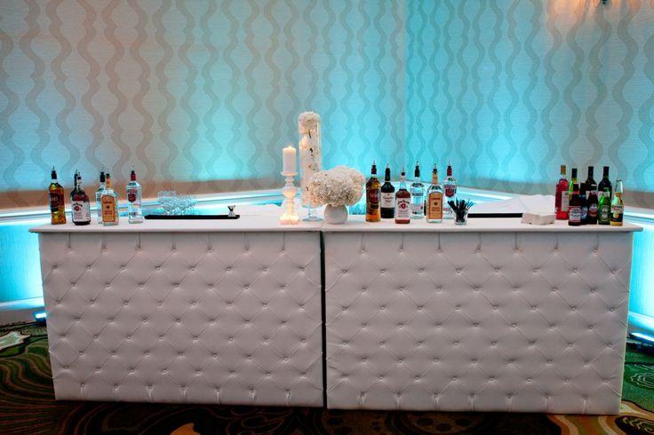 MMD Events custom white tufted bar