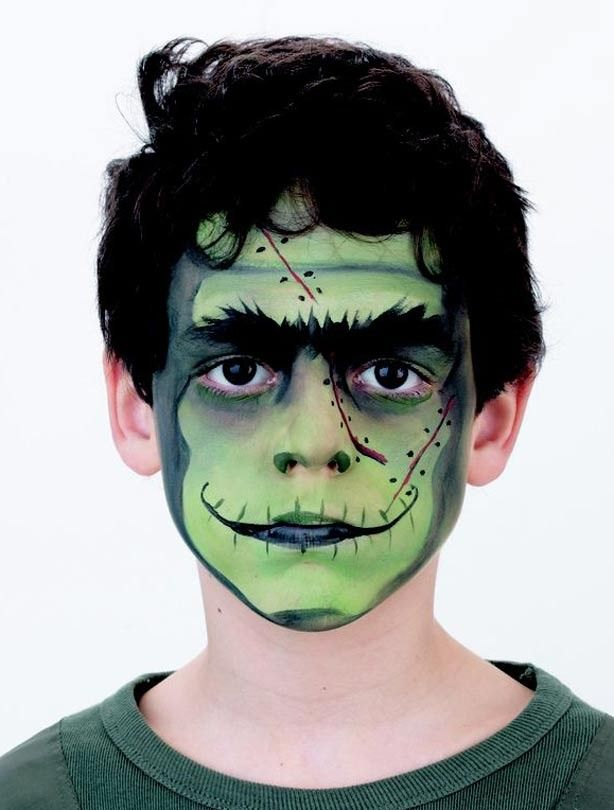Frankenstein face paint step 5: add the finishing touches - Frankenstein face paint
