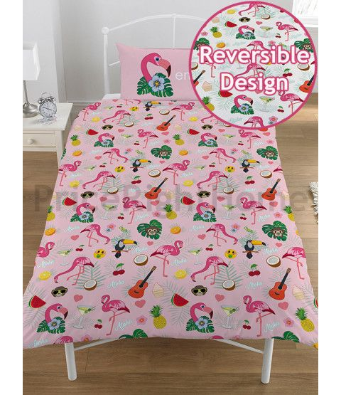 This Emoji Flamingo Reversible Single Duvet Cover and Pillowcase Set is made from a Polycotton blend. Free UK delivery available.