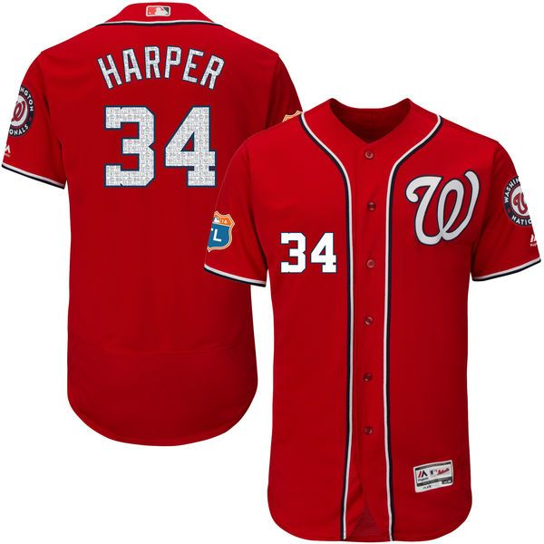 Bryce Harper Washington Nationals Majestic Alternate 2016 Flex Base Authentic Collection On-Field Spring Training Player Jersey - Scarlet - $308.99