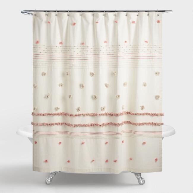 Ivory And Terracotta Striped Pom Pom Rimini Shower Curtain Pom