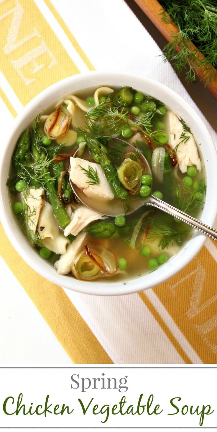 Spring Chicken Vegetable Soup with Caramelized Leeks | Simply Fresh Dinners
