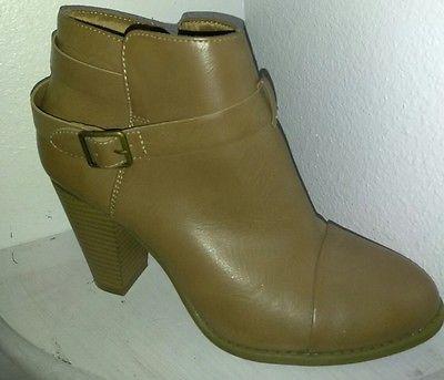 $80 Womens Lauren Conrad Ankle Boots Buckle Dress Booties Ladies ~ Tan  size 9.5