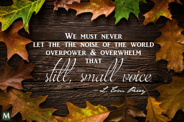 """We must never let the noise of the world overpower and overwhelm that still, small voice."" — L. Tom Perry  
