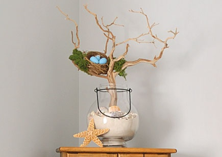 Nestle driftwood in a glass container full of sand and shells, and then tuck a bird's nest amid the branches. Prop up a seashell against the display for more coastal charm.