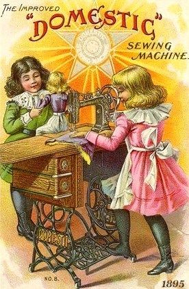 Sewing doll clothes ~ Vintage Domestic Sewing Machine trade card