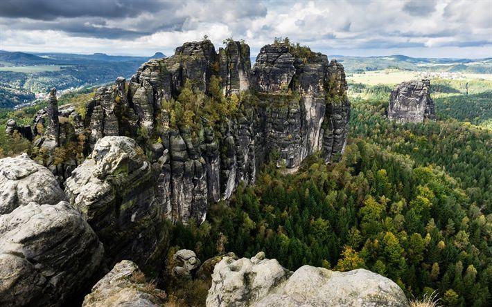 Download wallpapers Bad Schandau, rocks, mountain valley, mountain landscape, forest Germany, Saxony