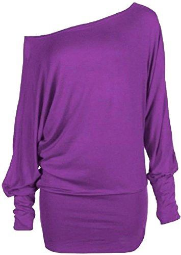 1c1bb3bc9049 Womens Plus Size Off Shoulder Baggy Batwing Long Sleeve Slouch Dress Top  (20 22