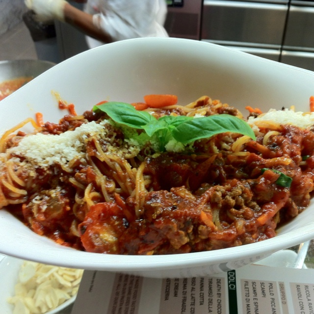 Spaghetti bolognese at Vapiano (Bahrain City Centre Mall)  Great to watch food prepared right before ones eyes: friendly staff, generous portions but really small Coke bottle.