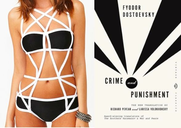 "Bookish bathing suits! A ""Crime and Punishment"" (by Fyodor Dostoevsky) inspired bikini!"